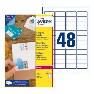 Étiquettes de masquage permanentes L4610 Avery - pour imprimante laser - opaques - 45,7 x 21,2 mm - blanc - 1200 étiquettes par boîte (photo)