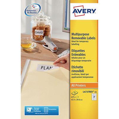 Etiquettes enlevables Avery L4737 - format 63.5x29.6 mm - impression laser - boîte de 675