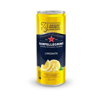 Jus pétillant aromatisé citron à base de concentré San Pellegrino - canette de 33 cl (photo)