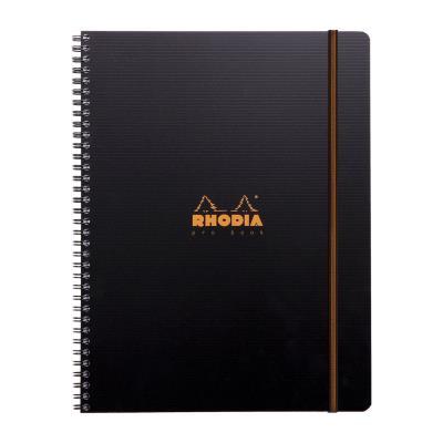 Cahier PROBOOK Rhodia spirale - 22,5x29,7cm - 160 pages 5x5 perforées 4 trous - noire polypro