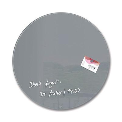 Artverum tableau magnétique design cercle - surface en verre trempé ultra-brillant - diamètre 40 cm - gris