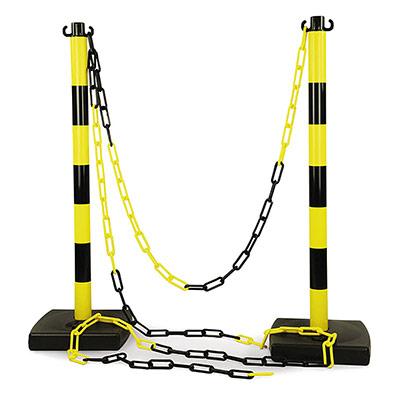 Kit 6 poteaux de balisage en PVC et 12 m de chaîne jaune/noir (photo)