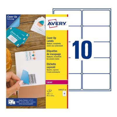 Étiquettes de masquage permanentes L4610 Avery - pour imprimante laser - opaques - 99,1 x 57 mm - blanc - 250 étiquettes par boîte (photo)