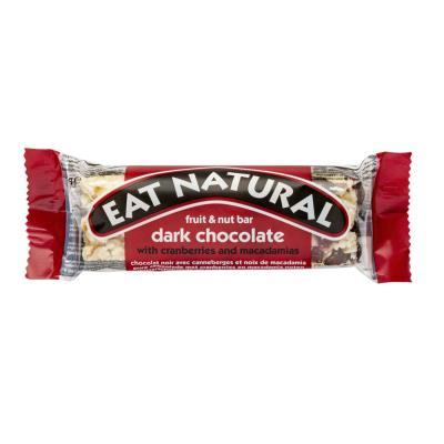 Barre enrobée aux fruits secs chocolat noir cranberry et noix de macadamia Eat Natural - sans gluten - boite de 12