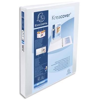 Classeur personnalisable Exacompta Kreacover 2 faces - 4 anneaux diam.25 mm en D - polypropylène blanc