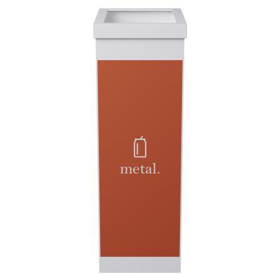 Corbeille de tri sélectif pour le recyclage du métal Paperflow - 60 litres - corps blanc - orange