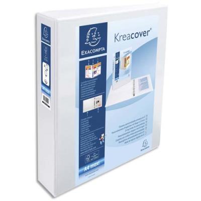 Classeur personnalisable Exacompta Kreacover 2 faces - 4 anneaux diam.40 mm en D - polypropylène blanc