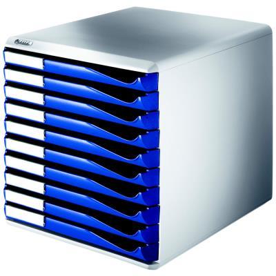 Bloc de classement Esselte 10 tiroirs A4 bleus structure grise 29x28,7x35,5 cm