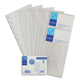 Lot de 5 recharges de pochettes pour porte-cartes de visite VIQUEL Géode - L11,2 x H25,3 cm - incolore