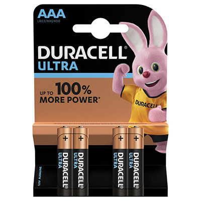 Piles AAA - LR03 - Alcaline par 4 - 1,5V - Duracell Ultra Power