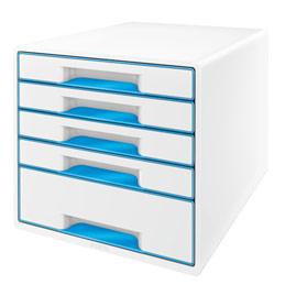 Bloc de classement 5 tiroirs LEITZ Wow format A4 polystyrène - Dim. L28,7 x H27 x P36,3 cm bleu brillant (photo)
