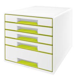 Bloc de classement 5 tiroirs LEITZ Wow format A4 polystyrène - Dim. L28,7 x H27 x P36,3 cm vert brillant (photo)