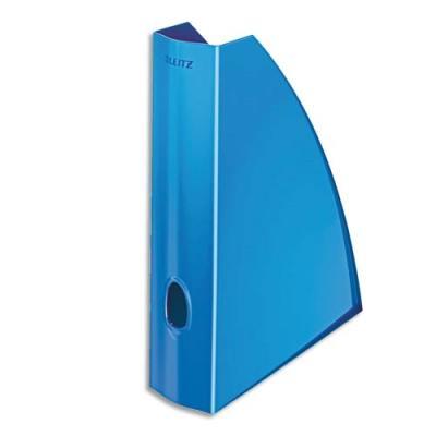 Porte-revues LEITZ Wow pour format A4 en polystyrène - L7,5 x H31,2 x P25,8 cm - bleu brillant