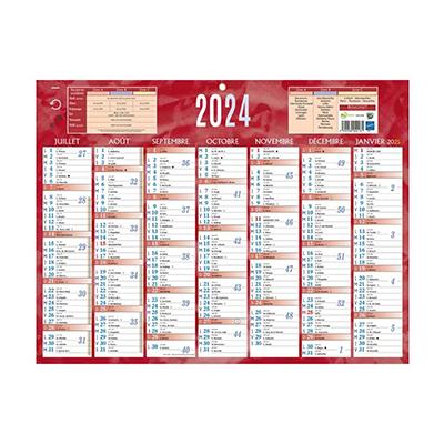 Calendrier bancaire rouge - 32 x 42 cm - 2021