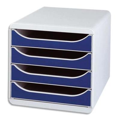 Caisson de classement à 4 tiroirs Big Box - gris/bleu (photo)
