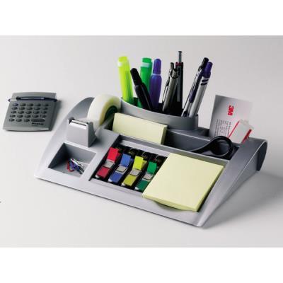 Organisateur de bureau C50 avec ruban adhésif transparent Magic 19 mm x 33 m - petits marque-pages couleurs assorties et Notes adhésives jaune canari (photo)