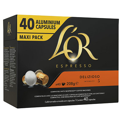 Café Espresso Delizioso L'Or pour machine Nespresso - intensité 5 - paquet de 40 capsules