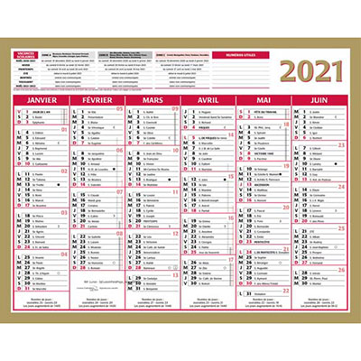 Calendrier 2020 Bouchut Gamme Or Quarantor - 40,5 x 55 cm (photo)