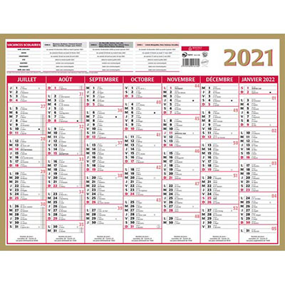 Calendrier 2020 Bouchut Gamme Or Lunor - 21 x 26,5 cm (photo)