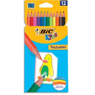 Etui de 12 crayons de couleur Tropicolors Bic - coloris assortis