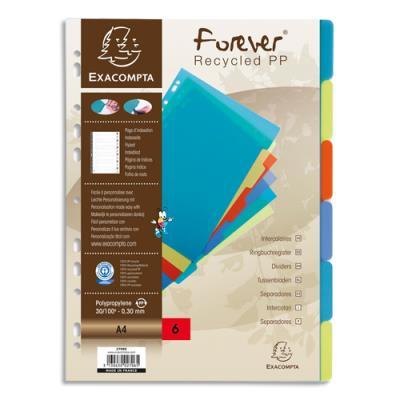 Intercalaires touches neutres Exacompta Forever - polypropylène recyclé - A4 - coloris assortis - 6 positions
