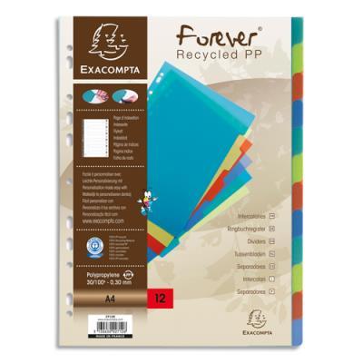 Intercalaires en polypropylène Exacompta Forever - Format A4 - coloris assortis - 12 positions