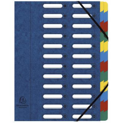 Trieur Exacompta Harmonika Nature Future avec dos extensible à soufflet et fenêtres prédécoupées 840 feuilles A4 24 compartiments 24 x 32 cm Carton bleu