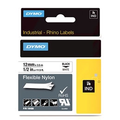 Ruban nylon flexible Dymo D1 - noir/blanc - 12 mm x 3,5 m