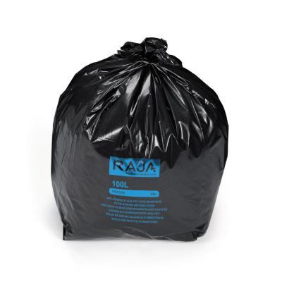 Sac poubelle Raja pour déchets courants en plastique recyclé - 45 microns - diamètre 52,2 x H.95 cm - carton 200 unités - 100L - noir