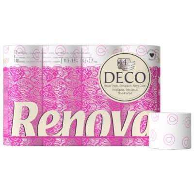 Papier toilette en rouleaux standard Deco - quadruple épaisseur - 140 feuilles - blanc - carton de 12 rouleaux