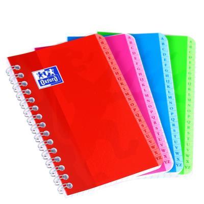 Répertoire alphabétique Oxford Essential 9 x 14 cm - à spirale - 100 pages petits carreaux 5x5 - couverture en carte coloris assortis