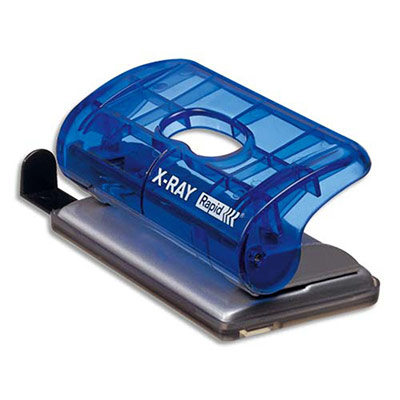 Perforateur Rapid C20 Xray - 2 trous - 20 feuilles - bleu translucide