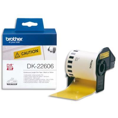 Rouleaux d'étiquettes - Brother DK22606 - noir/jaune - 62 mm x 15 m (photo)