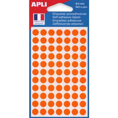 Pastilles adhésives de couleur Agipa Ø 8 mm - pochette de 462 - coloris orange