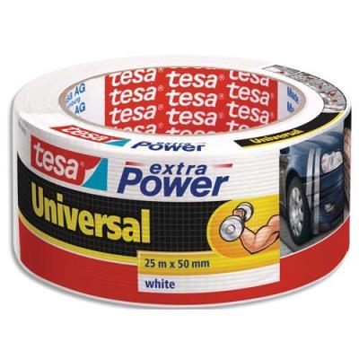 Rouleau de toile adhésive renforcée Tesa - 50 mm x 25 m - coloris blanc (photo)