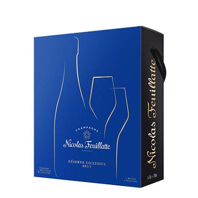 Champagne Brut Nicolas Feuillate - réserve exclusive - coffret cadeau avec 2 flûtes - bouteille de 75 cl (photo)