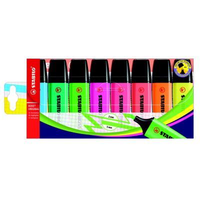 Stabilo Boss - pochette de 8 - coloris assortis : jaune/bleu/rose/turquoise/vert/rouge/orange/lilas