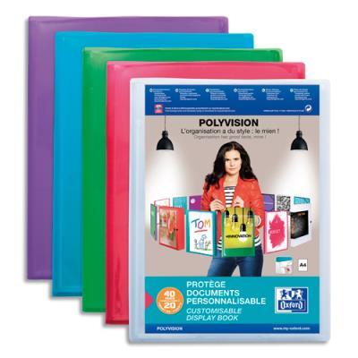 Protège document Elba - transparent et personnalisable - 20 pochettes 40 vues - pour format 21 x 29.7 cm - 4 couleurs : Bleu, incolore, mandarine, vert (photo)