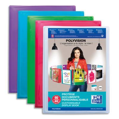 Protège document Elba - transparent et personnalisable - 40 pochettes 80 vues - pour format 21 x 29.7 cm - 4 couleurs : Bleu, incolore, mandarine, vert (photo)