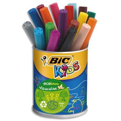 Pot de 18 feutres de coloriage Bic Kids Visacolor XL - pointe large - couleurs assorties (photo)