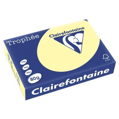 Papier Trophée - jaune canari - teinte pastel - 80 g - A4 - ramette de 500 feuilles