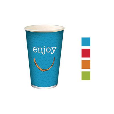 Gobelets pour boissons froides en carton recyclable Huhtamaki Enjoy - 300 ml - couleurs assorties - lot de 100
