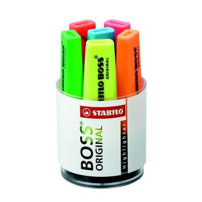 Stabilo Boss - pot de 6 - coloris assortis : jaune/bleu/rose/vert/rouge/orange