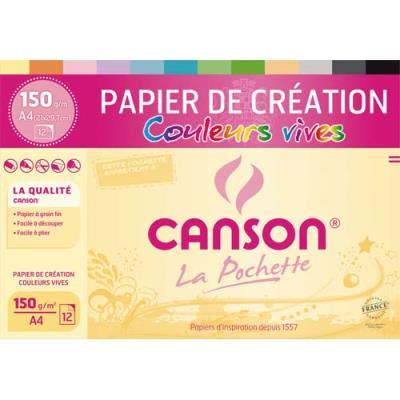Papier de Création Canson -  21 x 29,7 cm - 150g - assortiment de couleurs vives - pochette de 12 feuilles (photo)