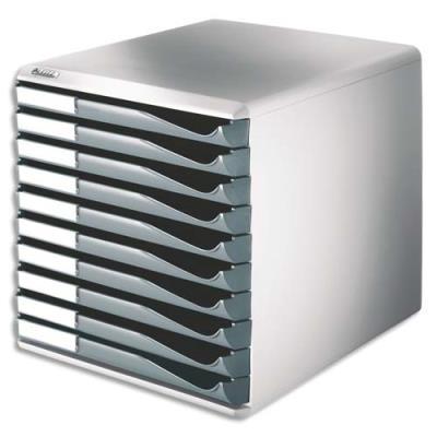 Bloc de classement Esselte - 10 tiroirs A4 gris structure grise 29x28,7x35,5cm (photo)
