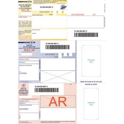 Boîte de 150 imprimés recommandés IB1 - A4 - avec AR - pour impression jet d'encre et laser