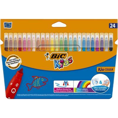 Etui de 24 feutres de coloriage Bic Kids Couleur - pointe moyenne - coloris assortis