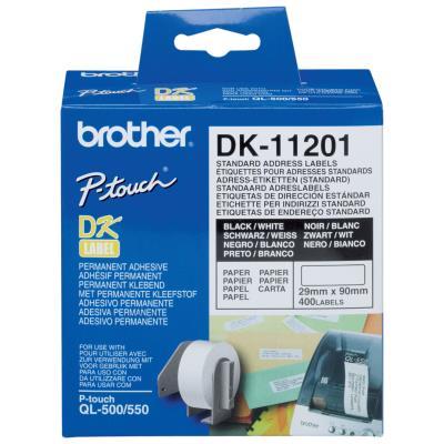 Rouleau de 400 etiquettes d'adresses Brother DK-11201 - 29 x 90 mm