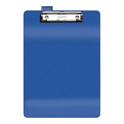 Plaque porte bloc Pergamy PVC - avec pince métal - L 23,5 x H 34 cm - bleu
