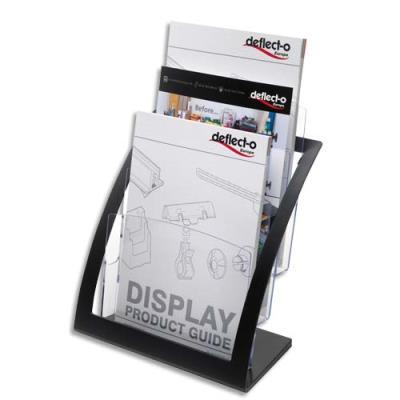 Porte-brochures Deflecto Contemporary - 3 compartiments A4 + porte cartes A4 - L28,9xH34,9xP15,6 cm - transparent